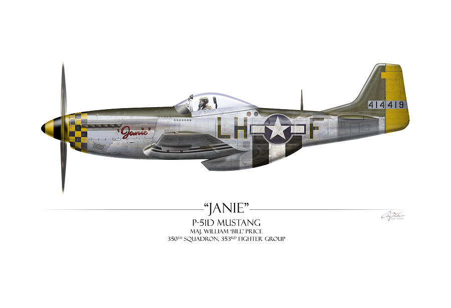 Aviation Painting - Janie P-51d Mustang - White Background by Craig Tinder