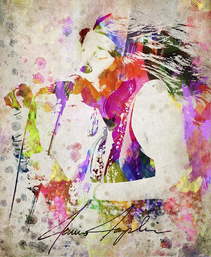 Janis Joplin Digital Art - Janis Joplin Portrait by Aged Pixel