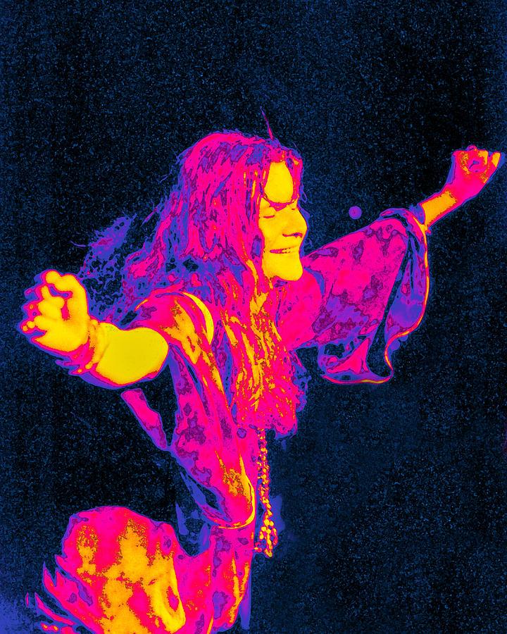 Musician Digital Art - Janis Joplin Psychedelic Fresno 2 by Joann Vitali