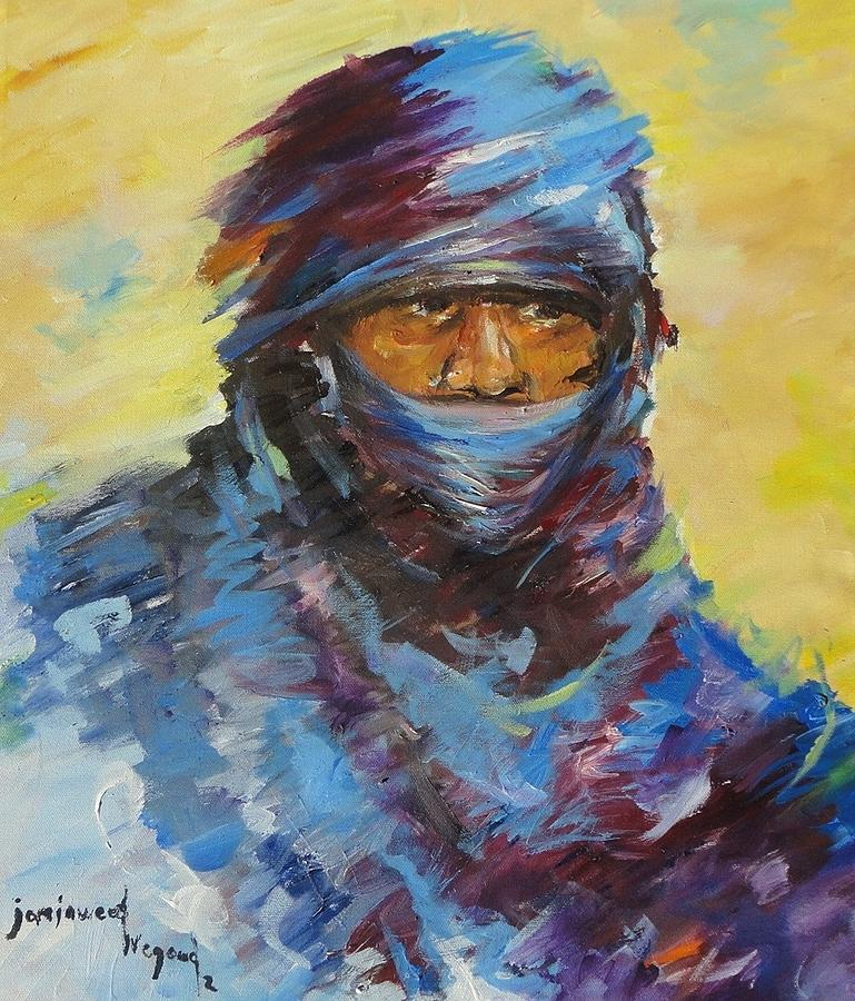 Portrait Painting - Janjaweed 3 by Negoud Dahab