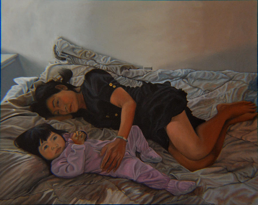 Mother And Child Painting - January Afternoon Mukilteo Washington by Thu Nguyen