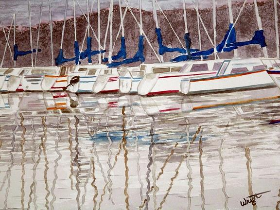 Sailboats Painting - January Blues Sold by Larry Wright