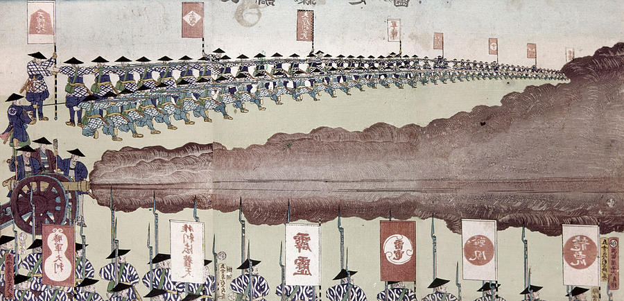 1867 Painting - Japan Military Training by Granger