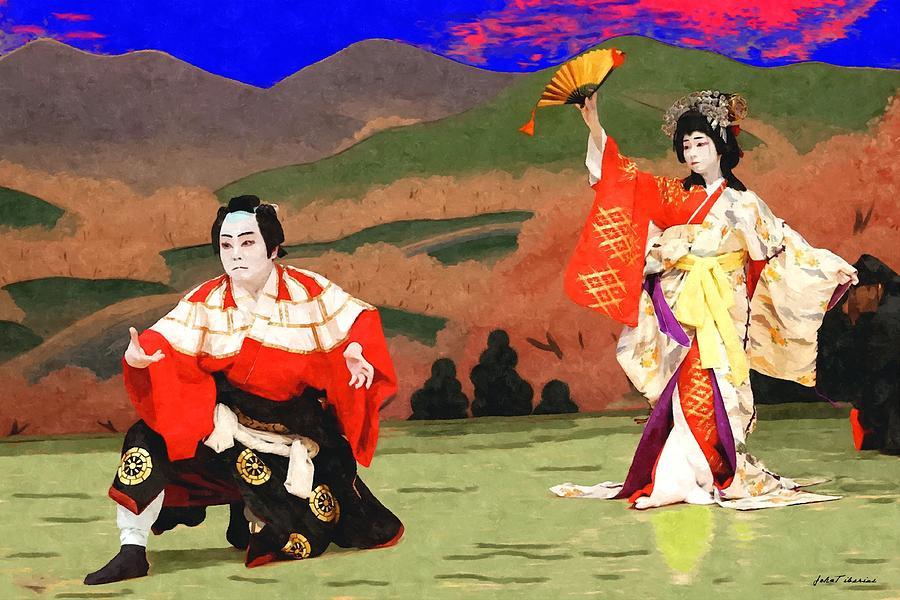 Japan Painting - Japan Theater by Janos Szijarto