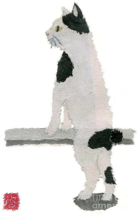 Minimalist Painting - Japanese Bobtail Cat Hand-torn Newspaper Collage Art Pet Portrait by Keiko Suzuki