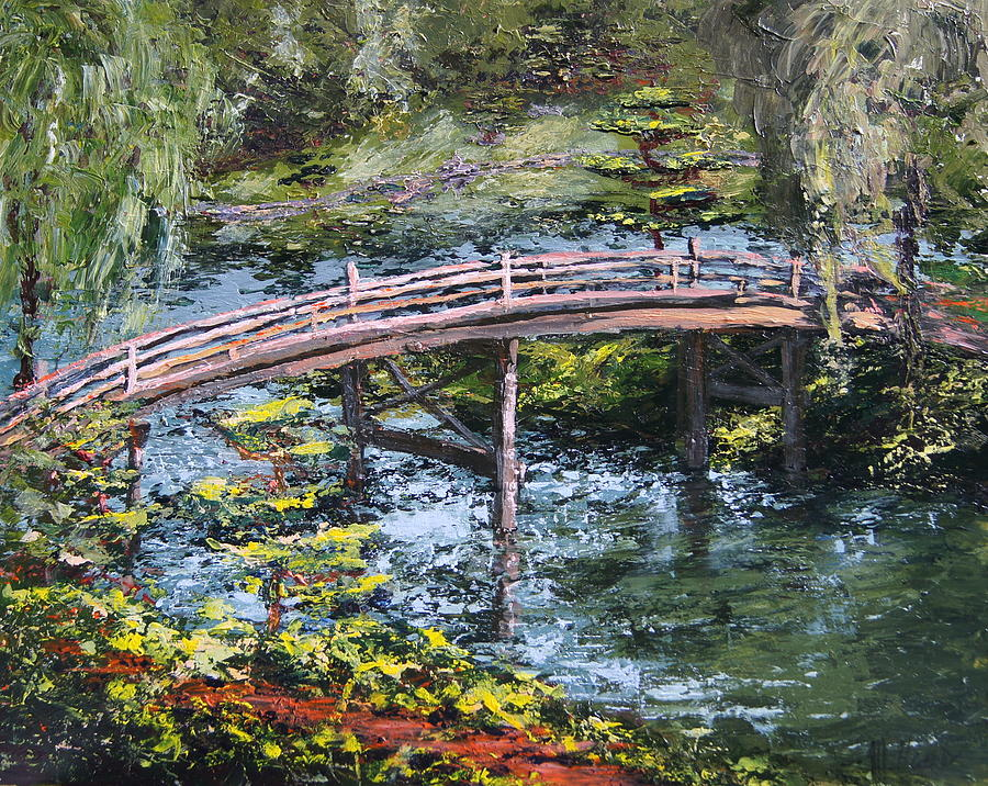 Chicago Botanic Gardens Painting - Japanese Bridge at Chicago Botanic Gardens by Mary Haas