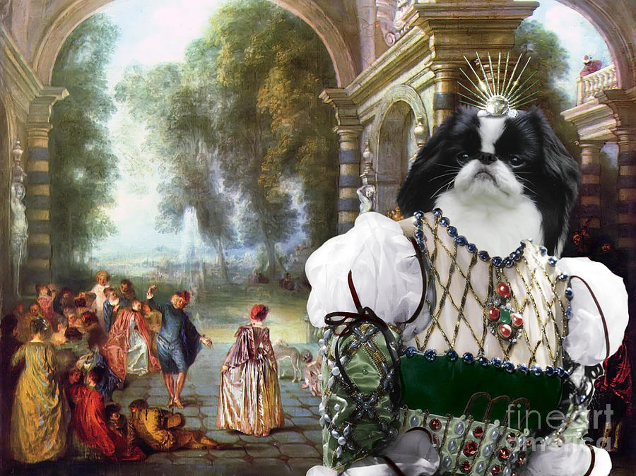 Japanese Chin Painting - Japanese Chin Art Canvas Print by Sandra Sij