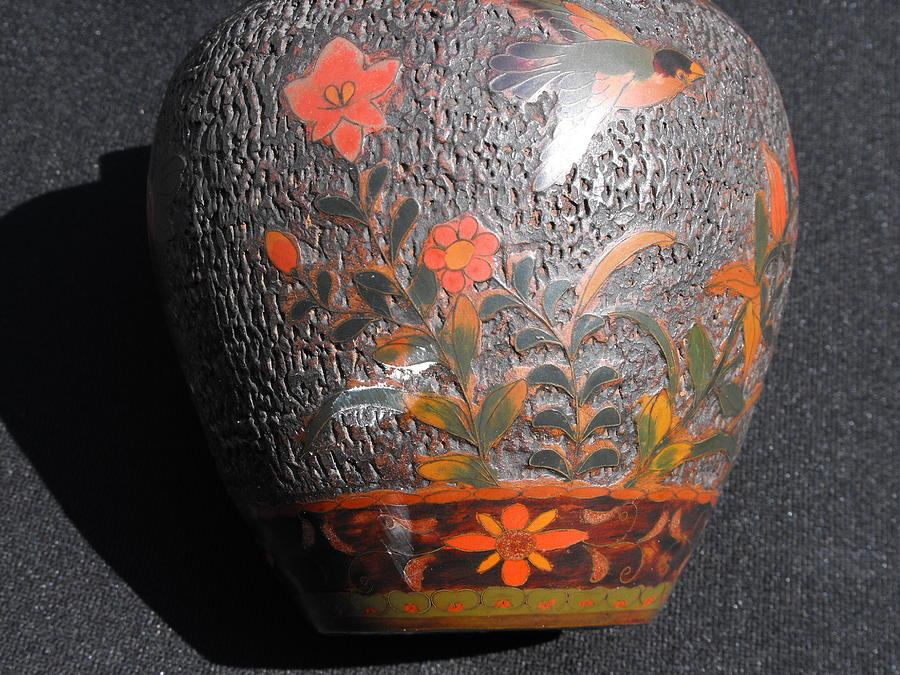 Japanese Cloisonne On Porcelain Totai Vase Ceramic Art by Anonymous Japanese artist