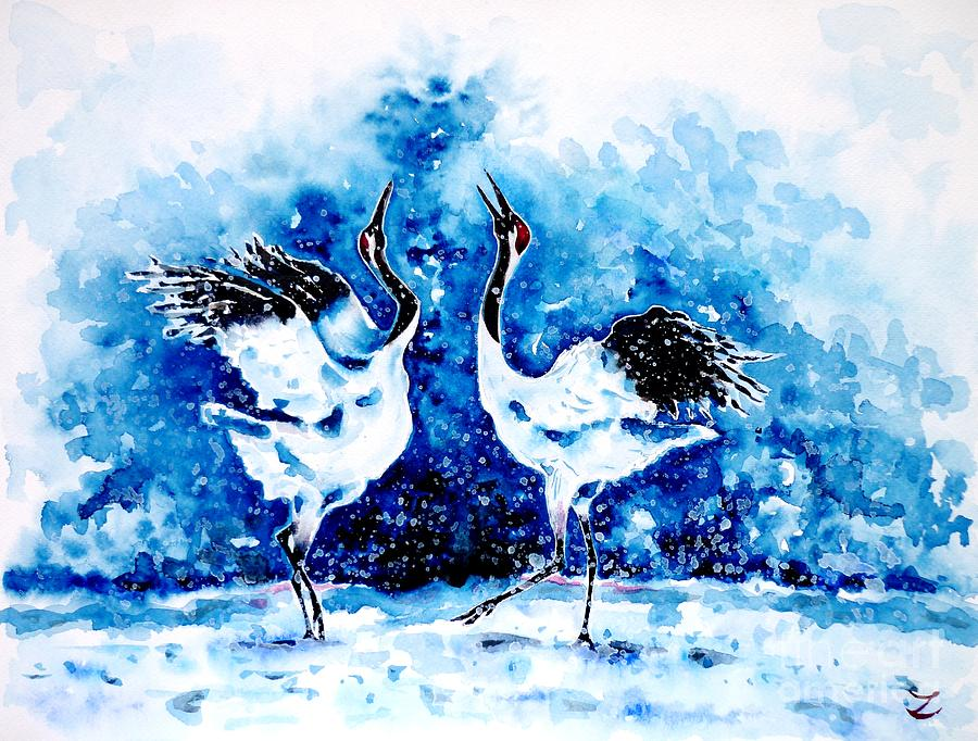Japanese Painting - Japanese Cranes by Zaira Dzhaubaeva