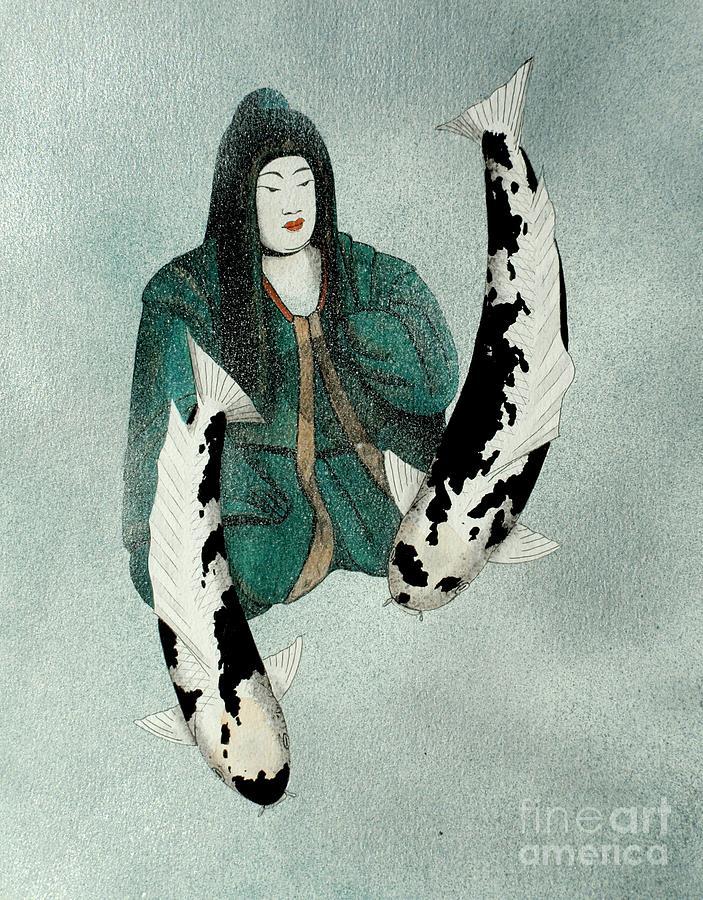 Japanese .empress. Koi. Carp Painting - Japanese Empress Shinko Utsuri Mono Painting by Gordon Lavender