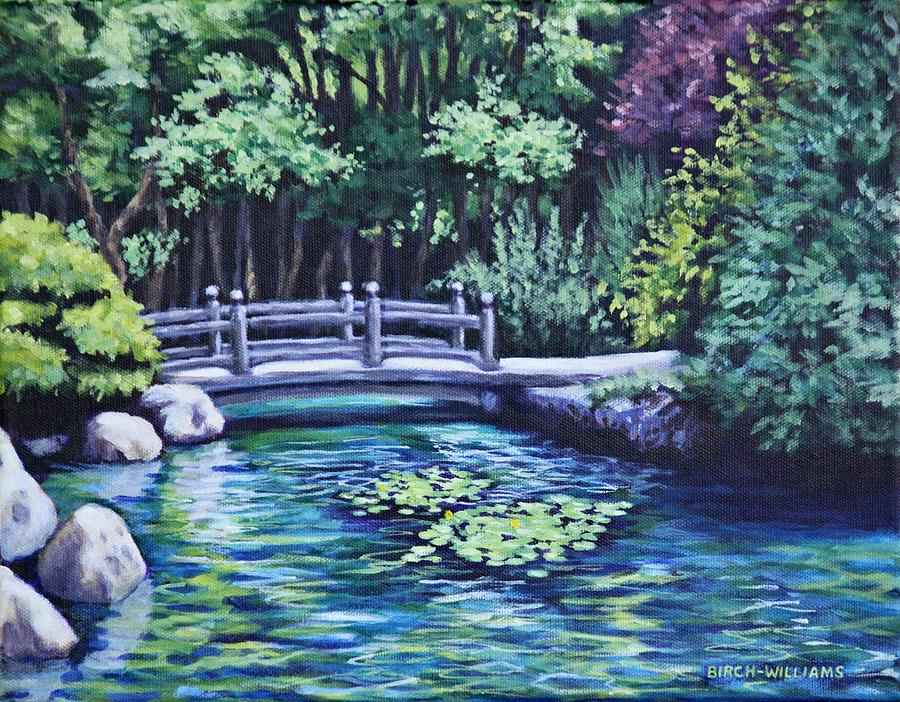 Japanese Garden Painting - Japanese Garden Bridge San Francisco California by Penny Birch-Williams