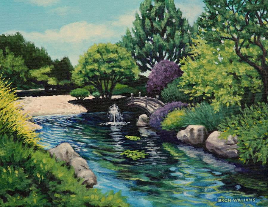 Japanese Garden Painting - Japanese Garden Fountain View by Penny Birch-Williams