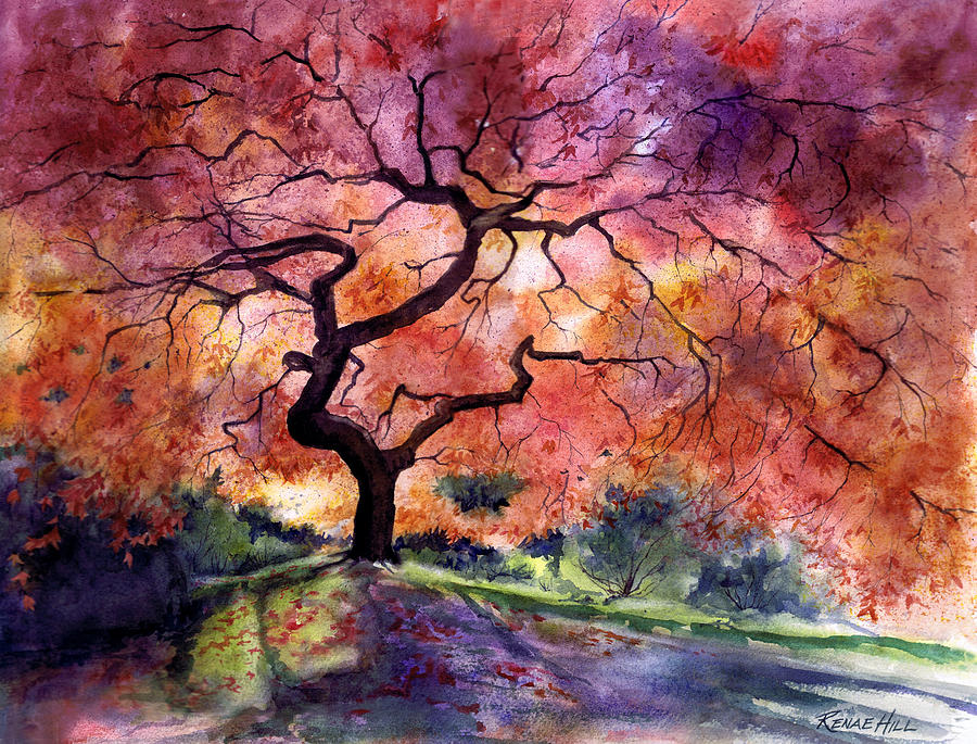 Japanese garden painting by renae hill for Garden painting images