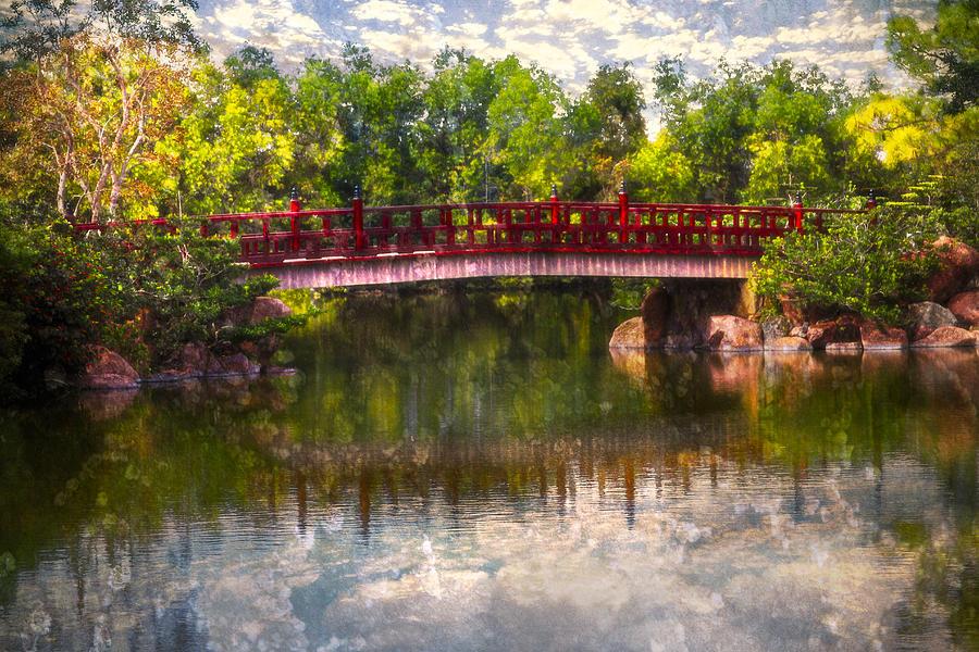 Clouds Photograph - Japanese Gardens Bridge by Debra and Dave Vanderlaan