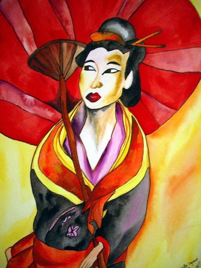Geisha Painting - Japanese Geisha by Sacha Grossel