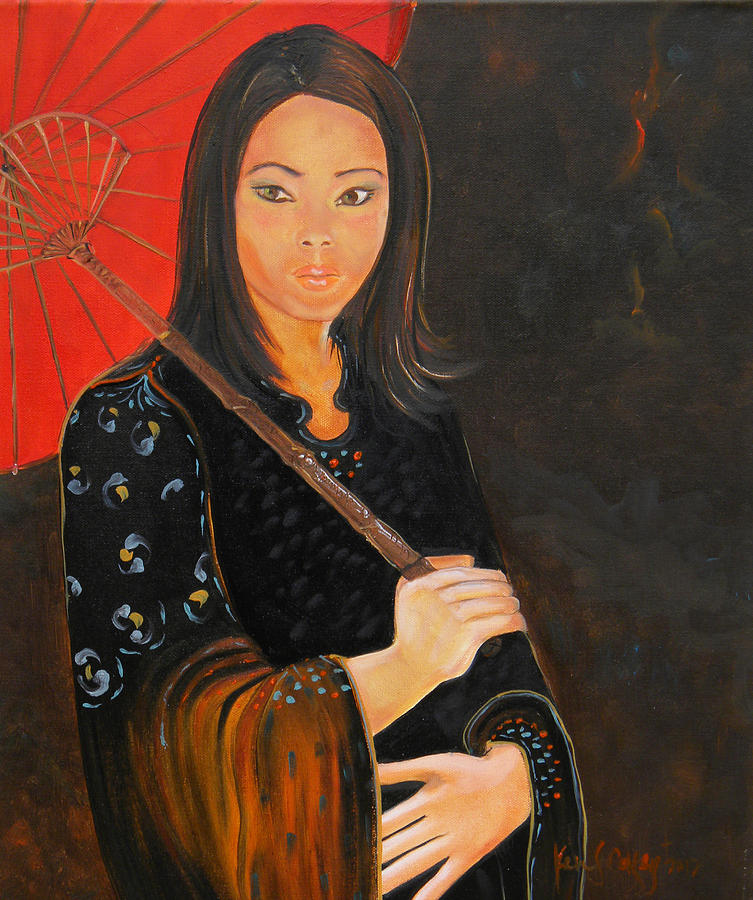 Japanese Girl Painting by Ken Caffey