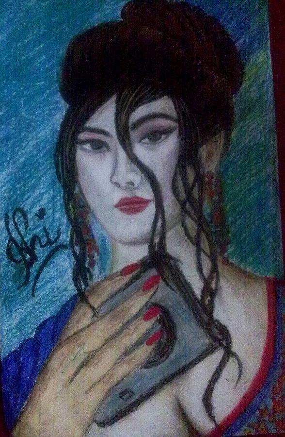 Japanese Girl Pastel by Syeda Ishrat