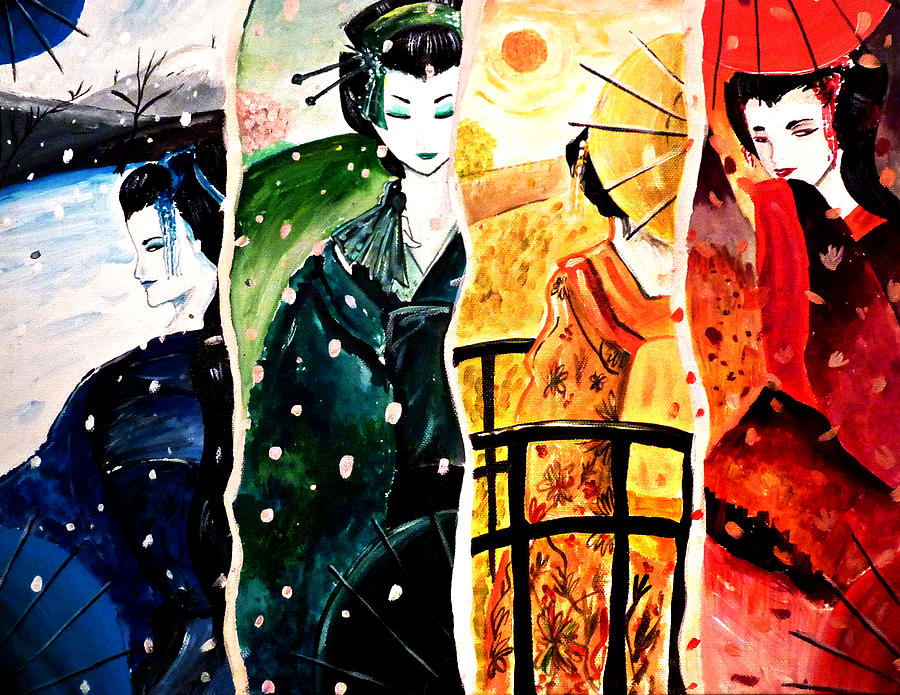 Japanese Inspired Art By Debbie And Becca Image No 4 Painting by Debbie and  Rebecca McCall