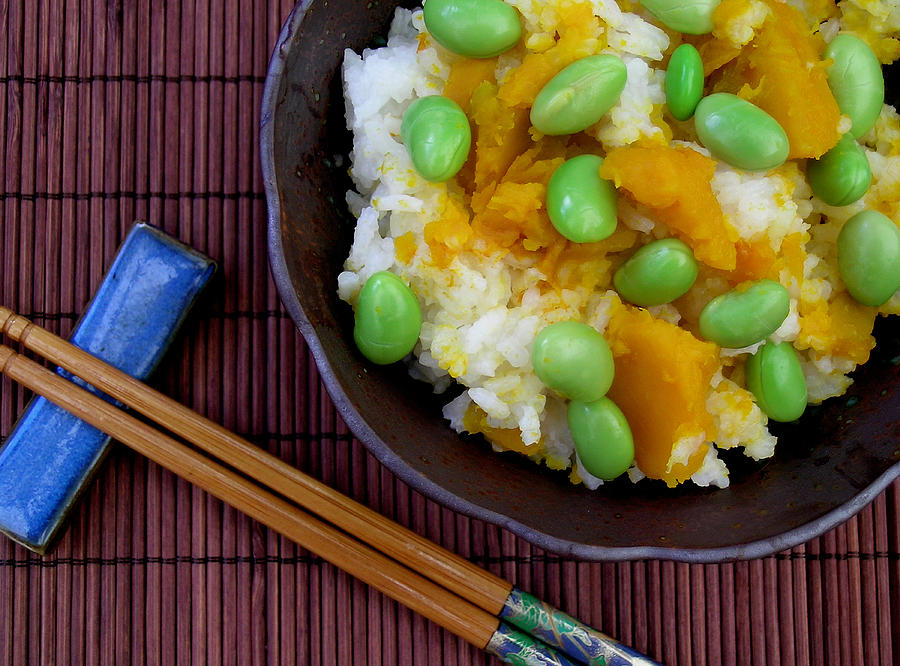 Kabocha Squash Photograph - Japanese Kabocha Squash Rice With Edamame by James Temple