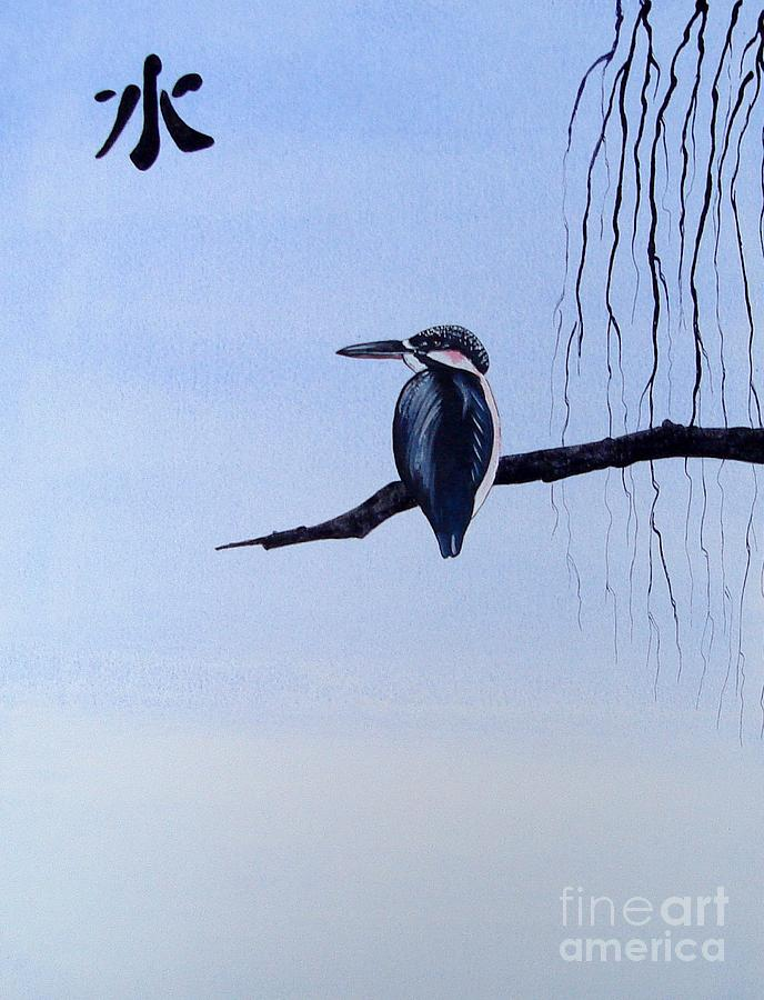 Japanese Painting - Japanese Kawasemi Kingfisher Feng Shui Water by Gordon Lavender