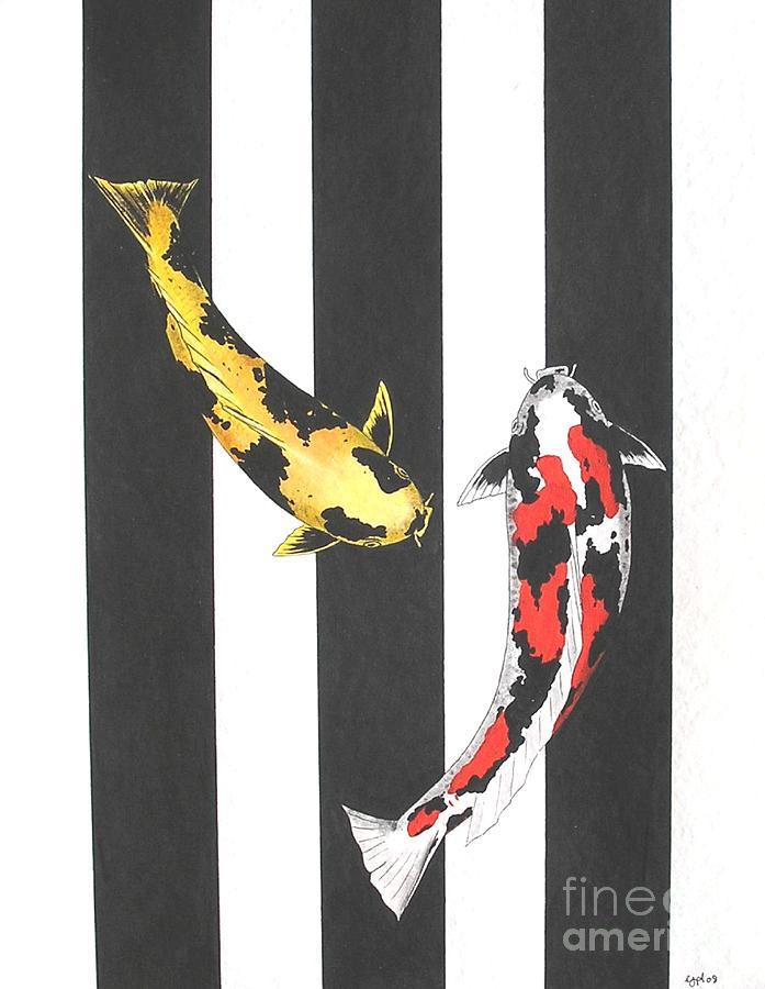 Japanese Koi Doitsu Showa And Showa Sumi Black Lines Painting by Gordon Lavender