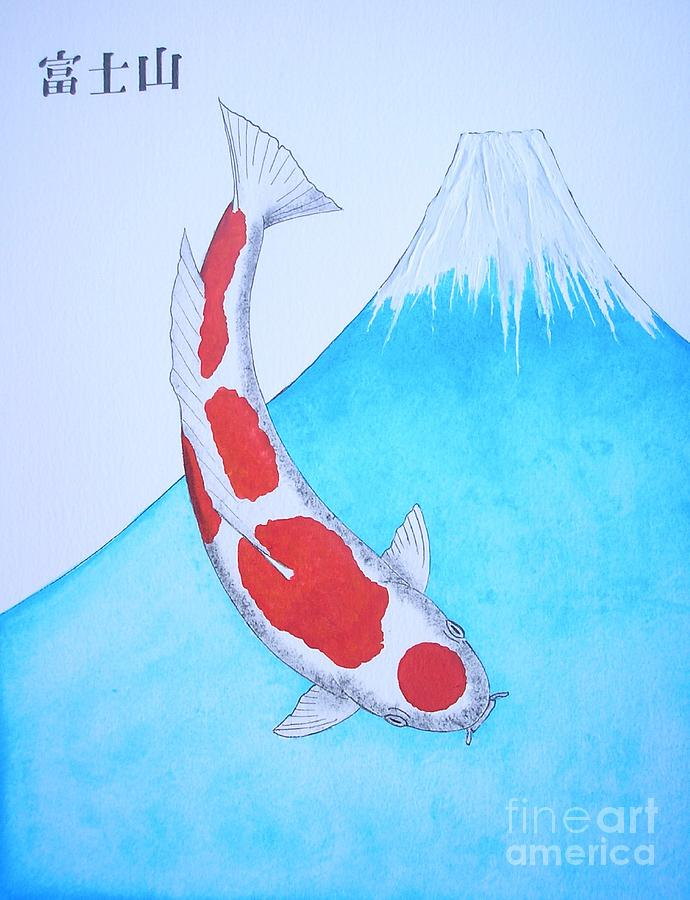 Japanese koi kohaku mt fuji painting painting by gordon for Koi japanese art