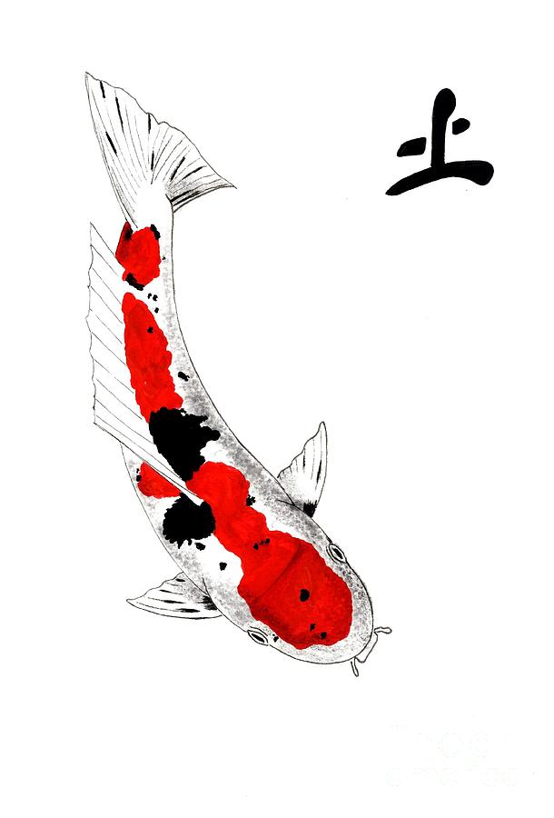 Japanese koi sanke feng shui earth painting by gordon lavender for Koi fish japanese art