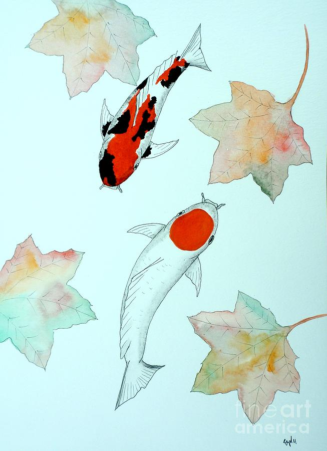 Japanese koi tancho and showa sanke painting painting by for Japanese koi carp paintings