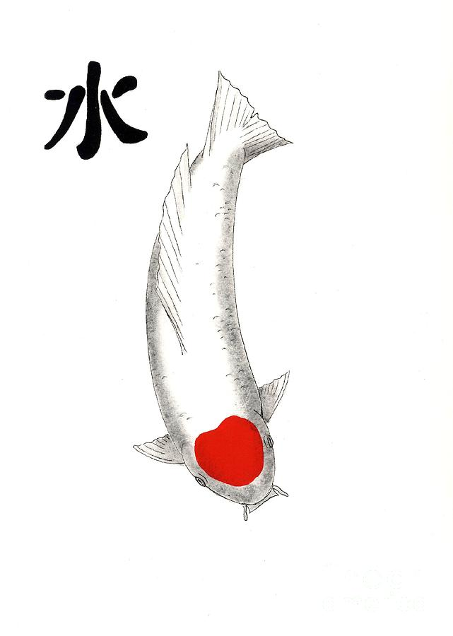 Japanese koi tancho feng shui water painting by gordon for Carpe koi tancho