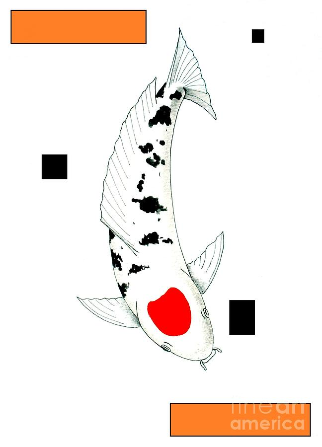 Japanese koi tancho painting painting by gordon lavender for Japanese koi company