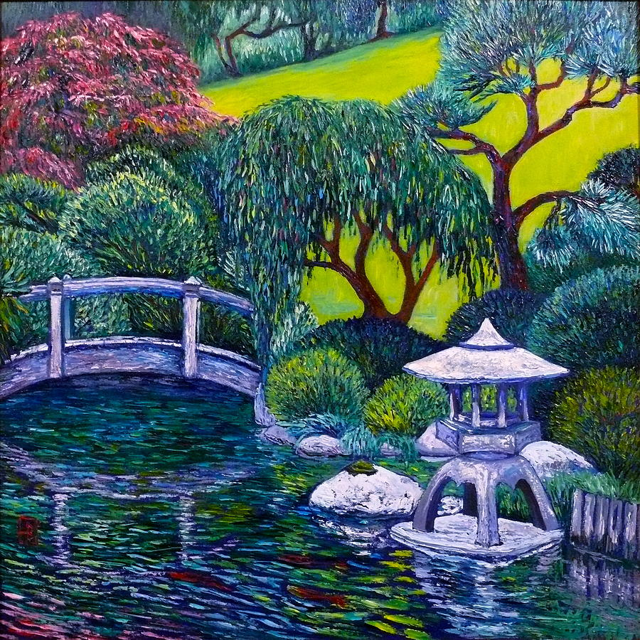Japanese Lantern and Bridge by Linda J Bean