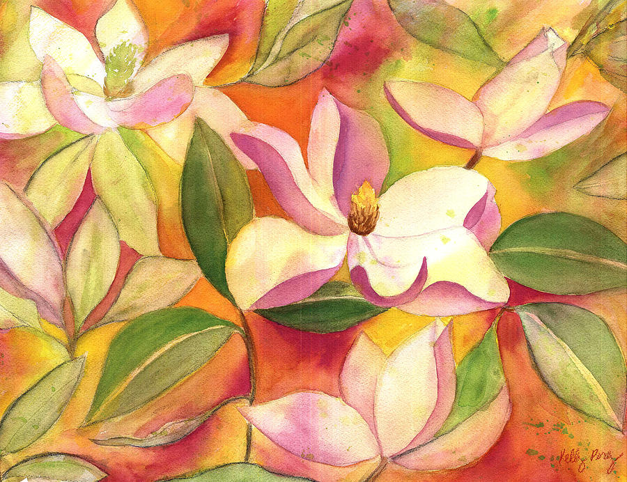 Japanese Magnolia Painting - Japanese Magnolia by Kelly Perez
