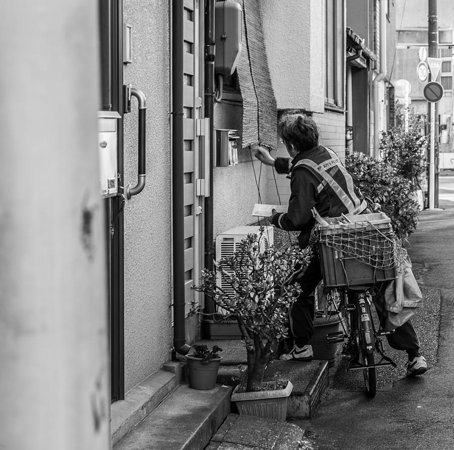 Black And White Photograph - Japanese Mail Man by Ryan Routt
