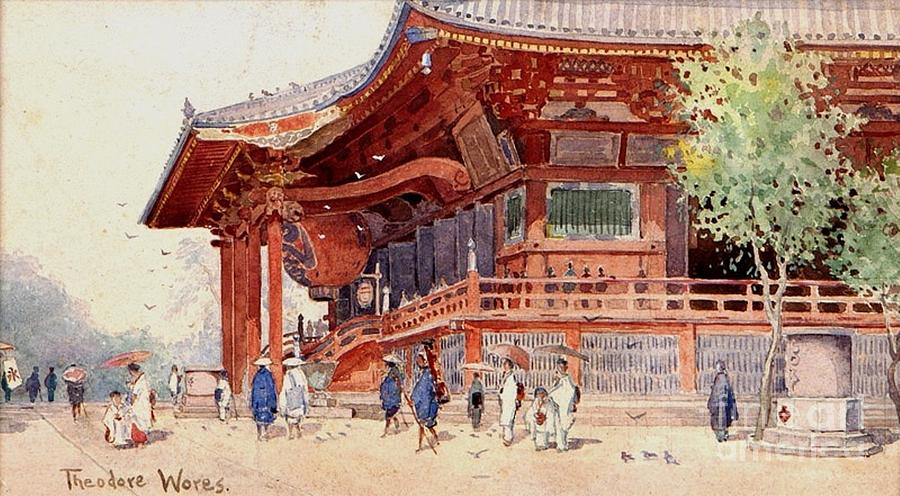 Reproduction Painting - Japanese Pavilion And Courtyard by Roberto Prusso