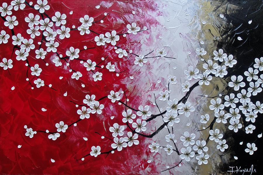 Abstract Painting - Japanese Plum Blossoms by Tomoko Koyama