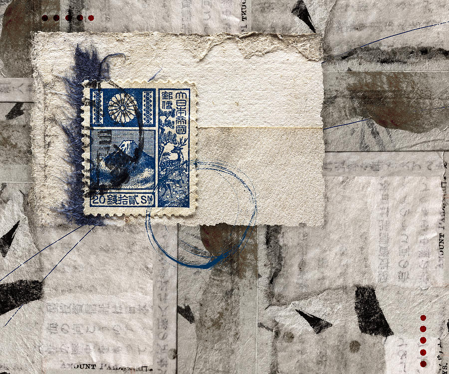 Japanese Photograph - Japanese Postage 20 Sen by Carol Leigh