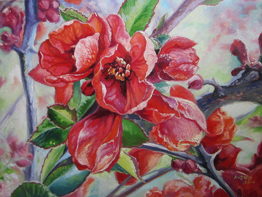 Japanese Quince In Blossom Painting by Andrei Attila Mezei
