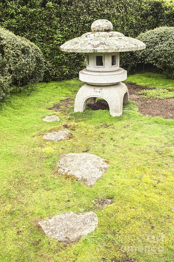 Contemplation Photograph - Japanese Stone Lantern Hamilton Gardens New Zealand by Colin and Linda McKie