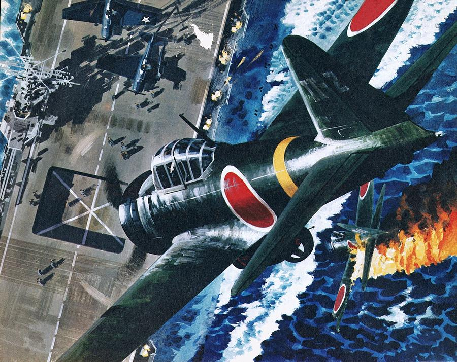Japanese Painting - Japanese Suicide Attack On American by Wilf Hardy