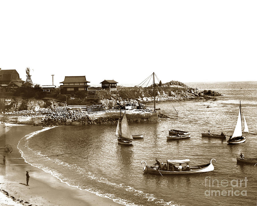 Japanese Photograph - Japanese Tea Garden Glass Bottom Boats At Lovers Point Pacific Grove California Circa 1907 by California Views Archives Mr Pat Hathaway Archives