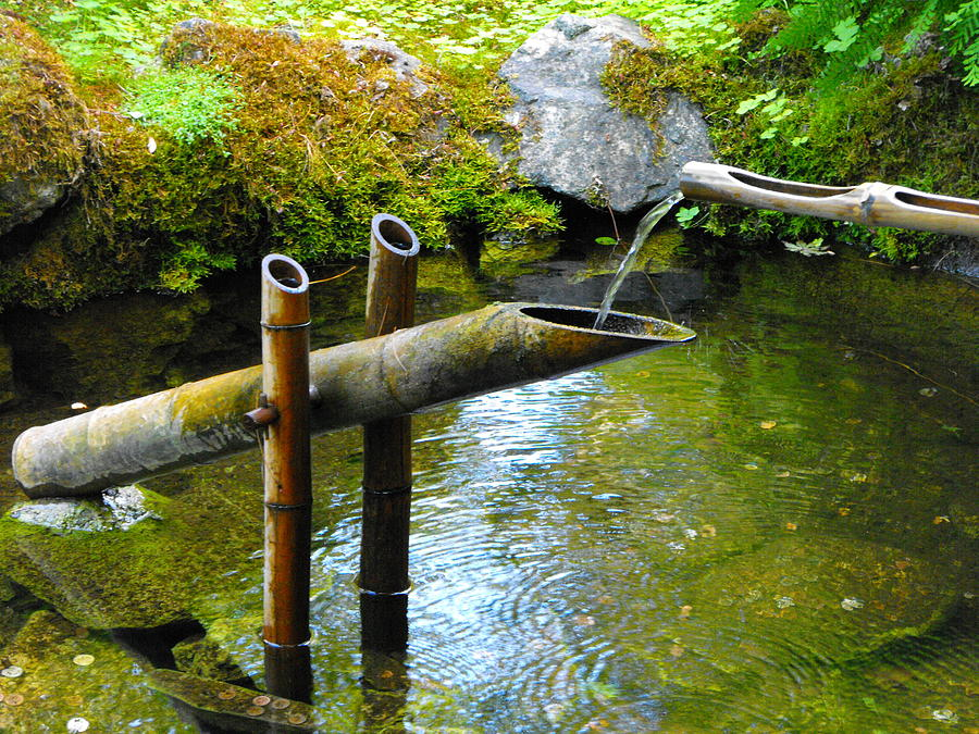 Peace Photograph - Japanese Water Fountain by Phyllis Britton