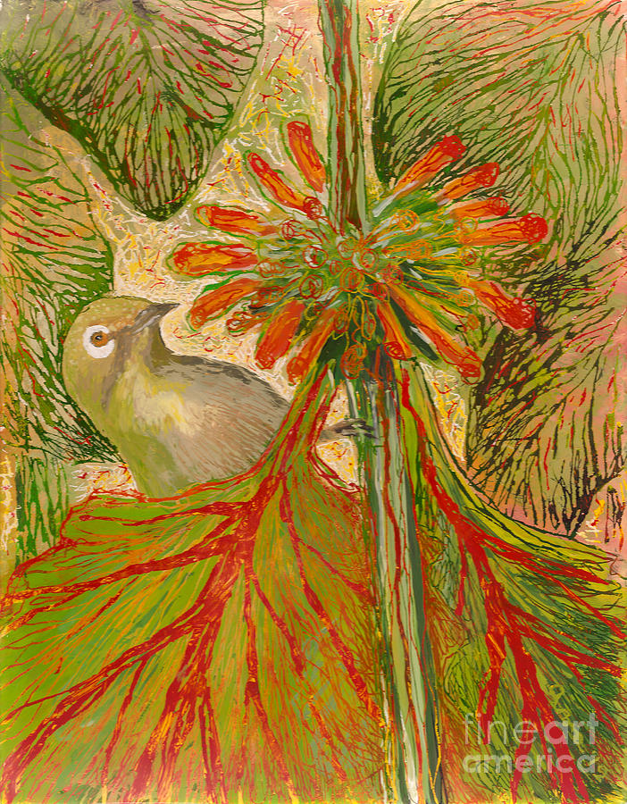 Hawaii Birds Painting - Japanese White Eye by Anna Skaradzinska