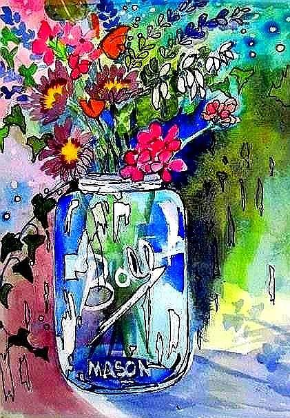 Flowers Canning Jarfloral Painting - Jar And Flowers Two by Esther Woods