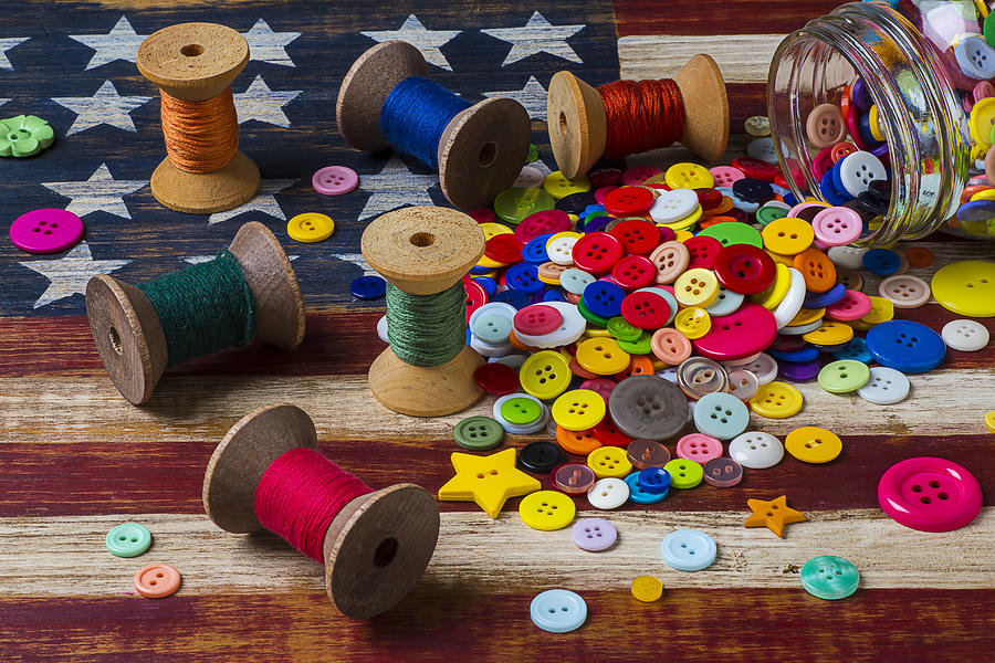 Thread Photograph - Jar Of Buttons And Spools Of Thread by Garry Gay