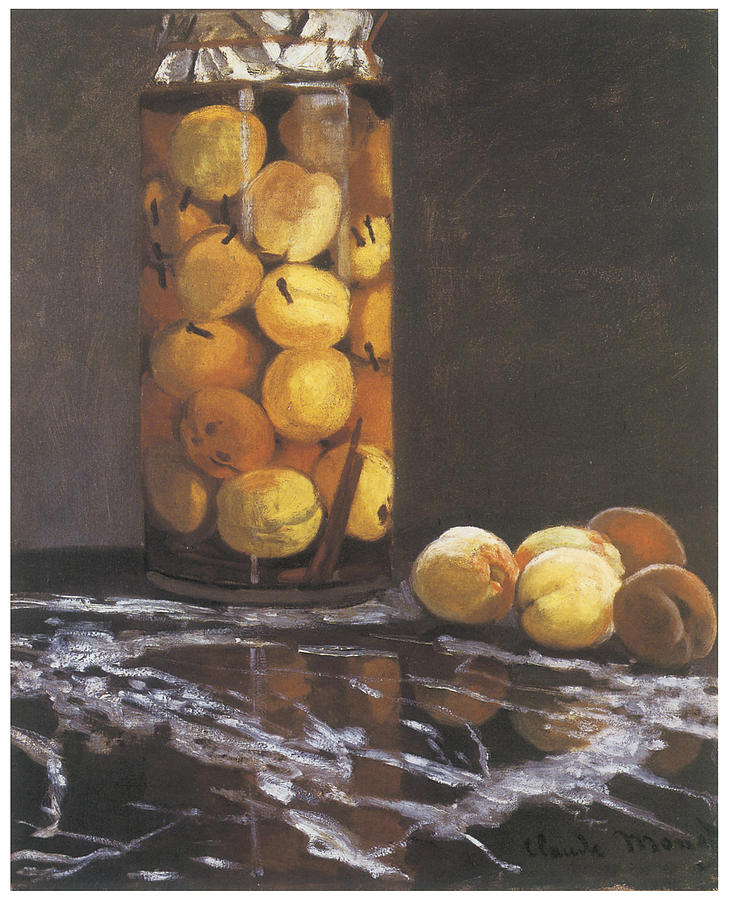 Peaches Painting - Jar Of Peaches by Claude Monet