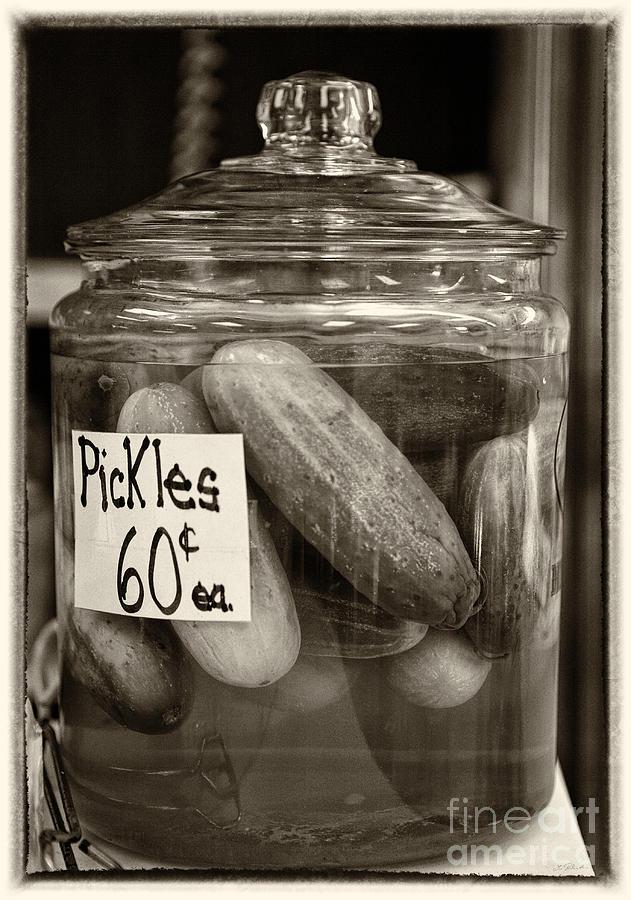 Food Photograph - Jar Of Pickles Sepia by Iris Richardson