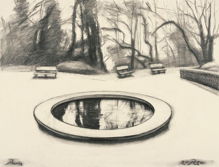 Charcoal Drawing - Jardin des Musee de Montmartre by Raimonda Jatkeviciute-Kasparaviciene