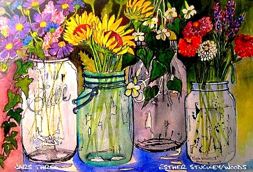 Jars Three Painting by Esther Woods