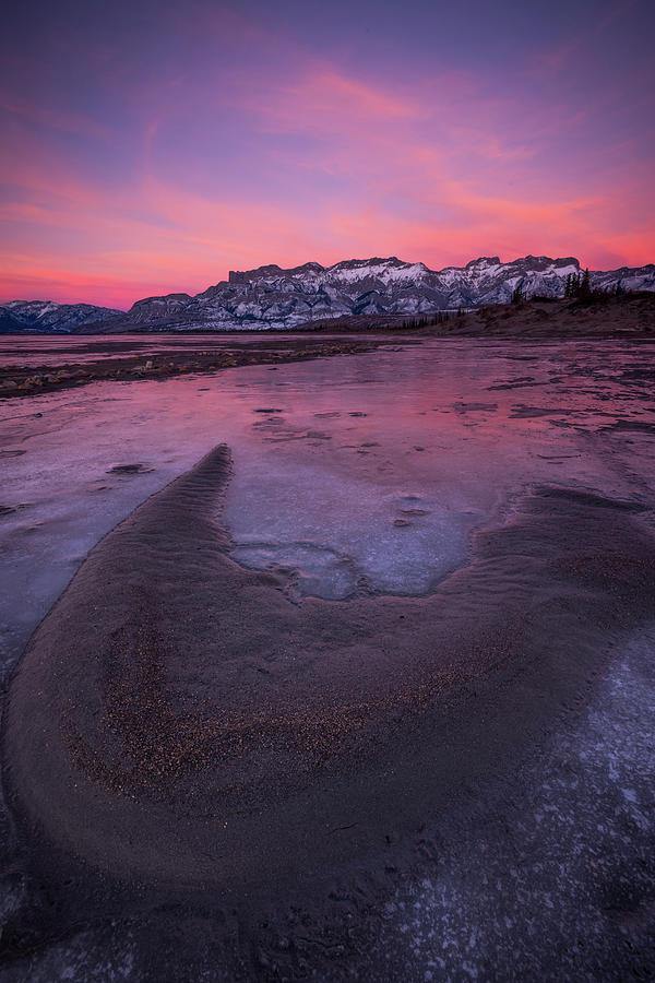 Jasper Lake Winter Sunset Photograph by Jeff Lewis Photography