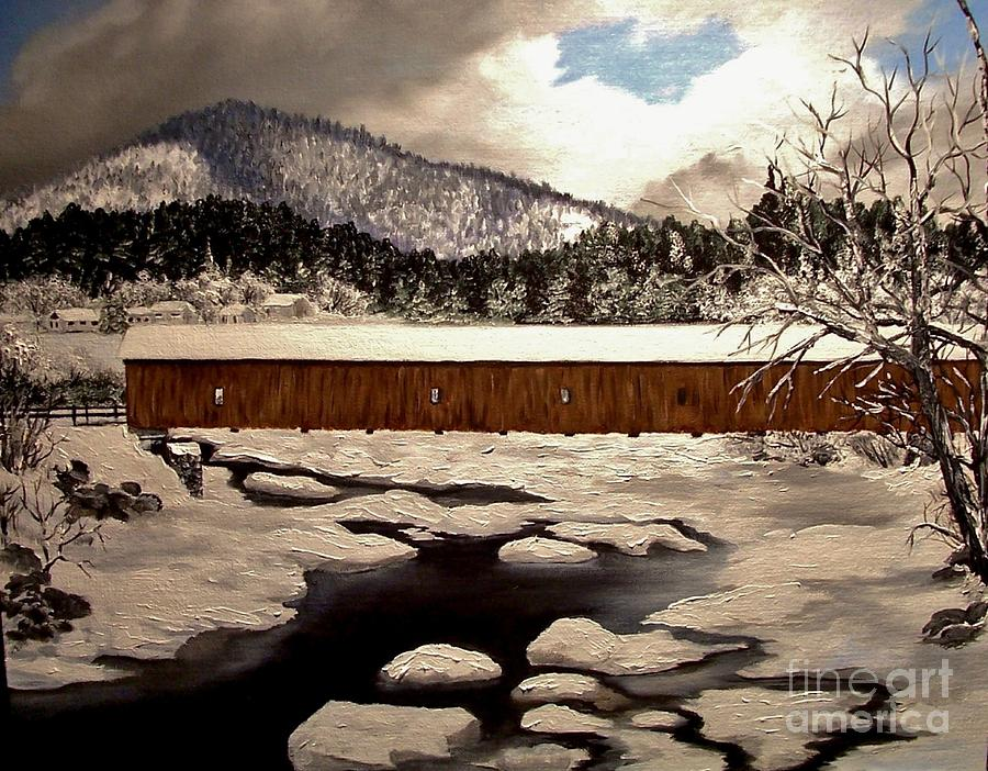 Winter Painting - Jay Covered Bridge by Peggy Miller